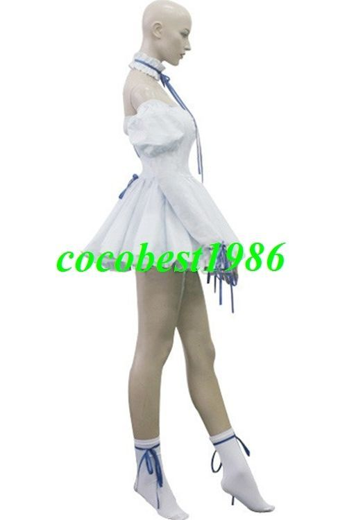 Chii White Pompon Dress Cosplay Costume from Chobits any size Dress Socks