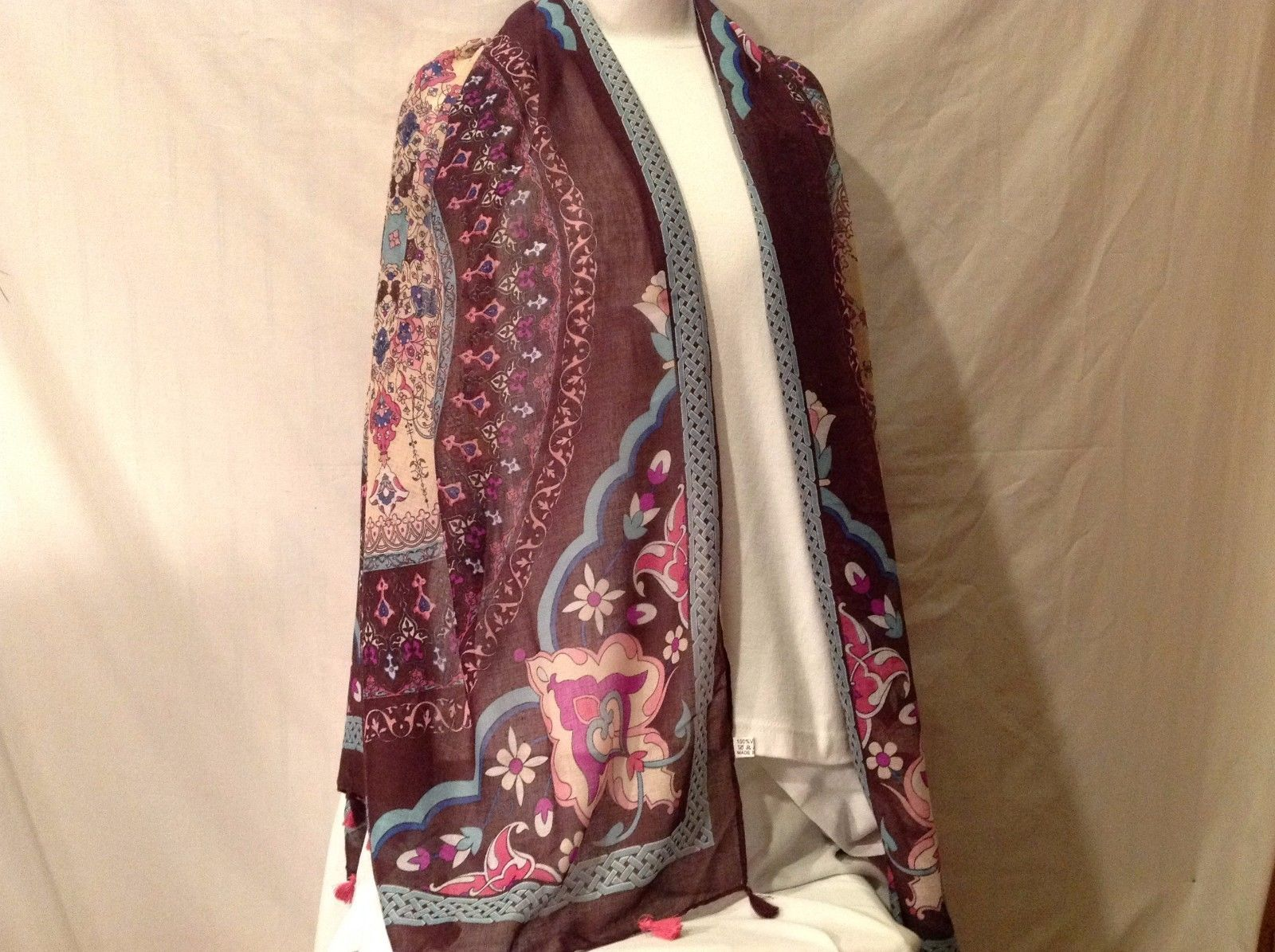 Primary image for Soft Multi-color Floral design large shawl scarf wine w pink aqua blue 72 x 36