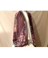 Soft Multi-color Floral design large shawl scarf wine w pink aqua blue 7... - $51.96 CAD