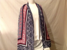 Soft Multi-color Mosaic design large shawl scarf blue red white 74 x 39