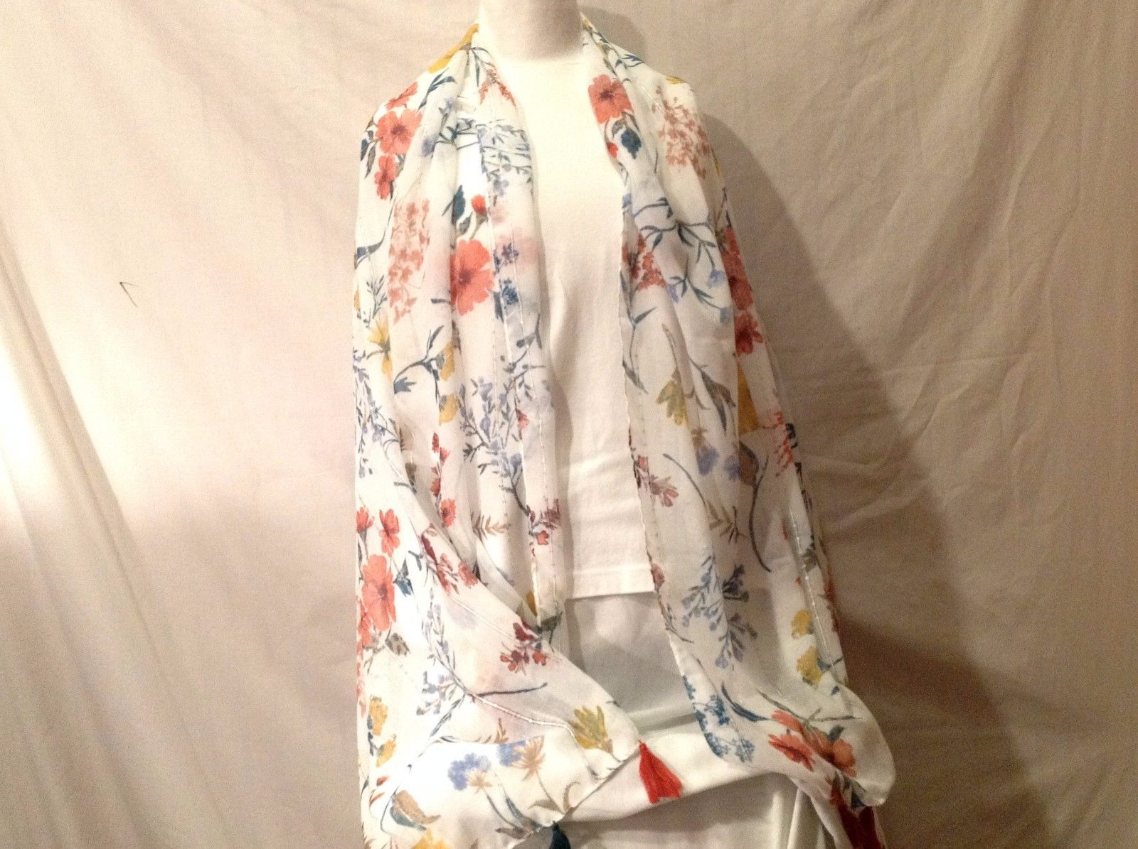 Soft Multi-color Floral design large shawl white garden colors 72 x 37 tassels