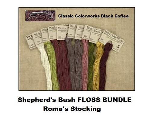 FLOSS BUNDLE Pearl Cotton (11 skeins) 2016 Roma's Stocking by Shepherd's Bush  - $35.55