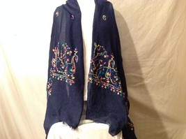 Soft Multi-color Floral design large scarf shawl navy w embroidery 75 x 35