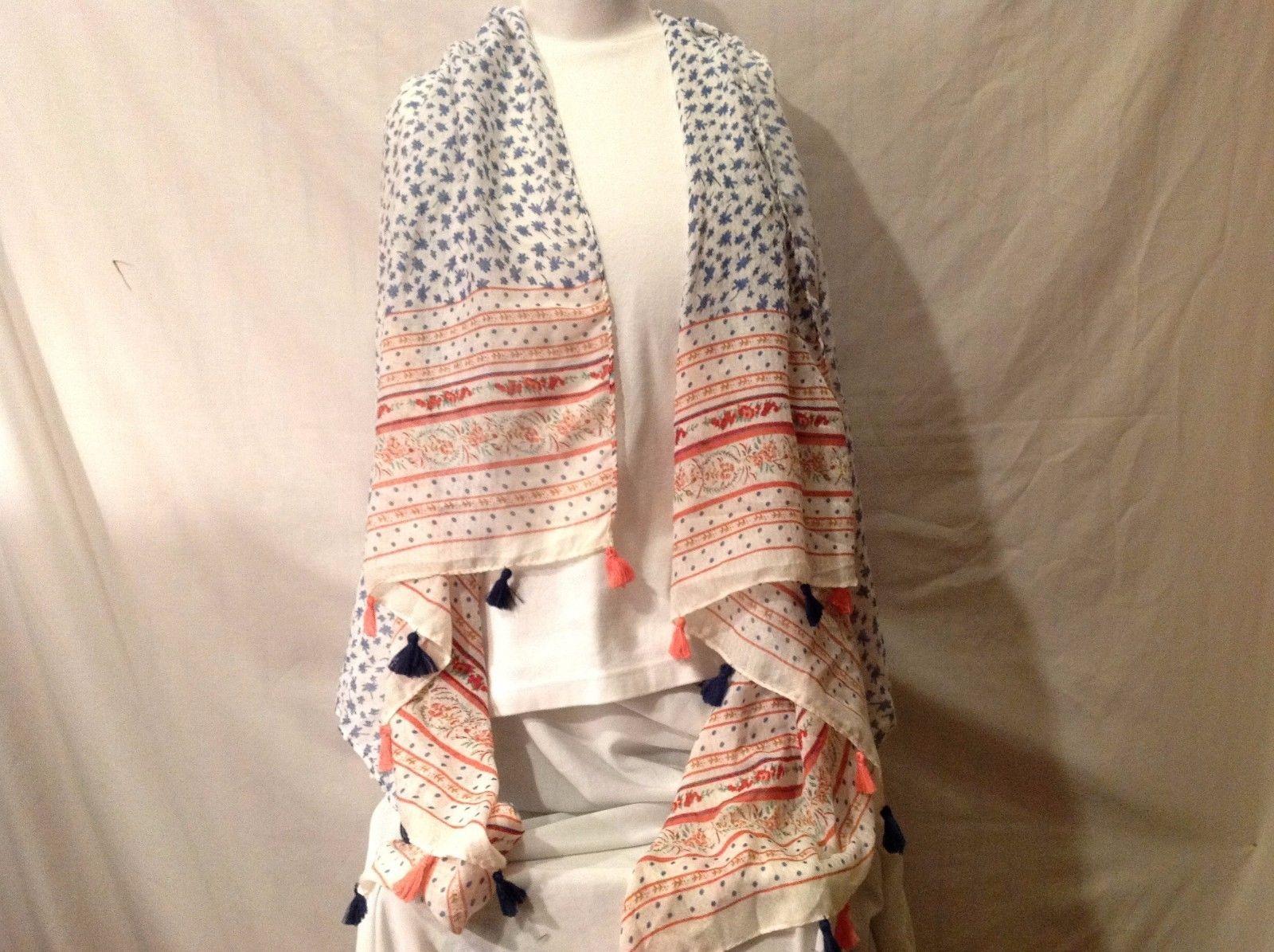 Soft Multi-color Floral dot design large scarf shawl cream w peach blue 72 x 34