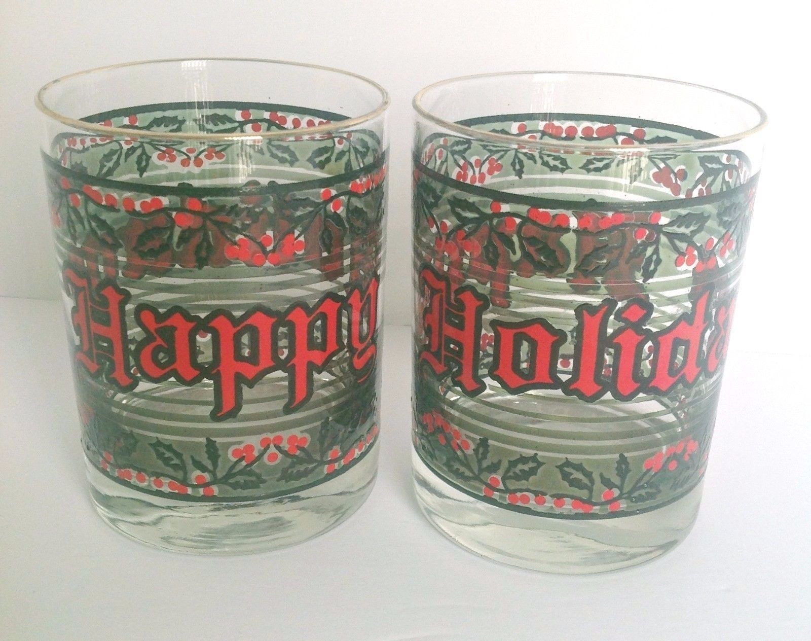 2 Christmas Glasses Happy Holidays Fashioned Drinking Glasses Vintage Barware