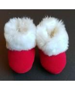 Baby Boy Girl Toddler 3-6M Red Fleece Santa Slippers Booties Winter Chri... - $11.95