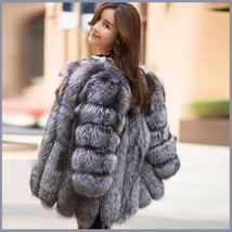 Long Full Pelt Silver Blue Fox Faux Fur O Neck with Long Sleeves Luxury Fur Coat