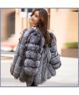Long Full Pelt Silver Blue Fox Faux Fur O Neck with Long Sleeves Luxury ... - $334.95