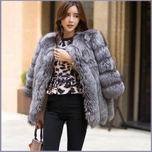 Long Full Pelt Silver Blue Fox Faux Fur O Neck with Long Sleeves Luxury Fur Coat image 2