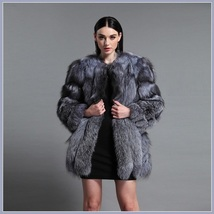 Long Full Pelt Silver Blue Fox Faux Fur O Neck with Long Sleeves Luxury Fur Coat image 3