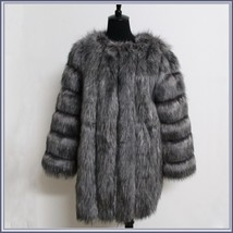 Long Full Pelt Silver Blue Fox Faux Fur O Neck with Long Sleeves Luxury Fur Coat image 4