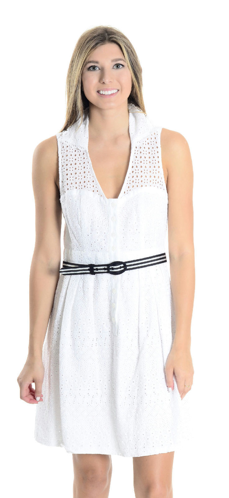 6 Nanette Lepore White Eyelet Lace Sweetheart Neckline Collared Sleeveless Dress
