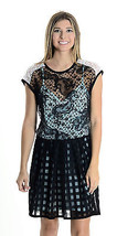 6 Nanette Lepore Black Lace Overlay Short Sleeve Mini Dress w/ Teal Silk... - $73.58 CAD