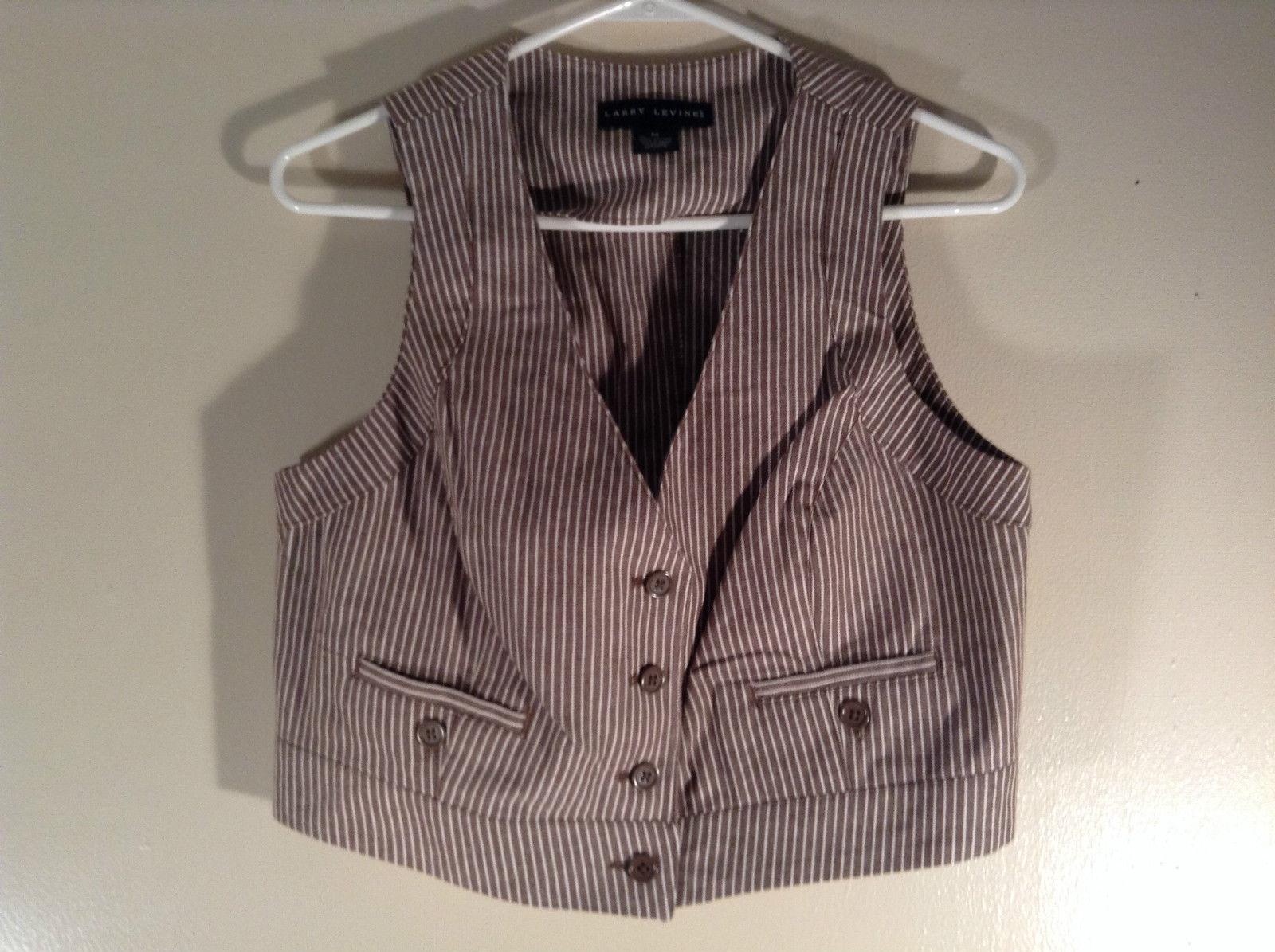 Larry Levine Size M Brown Striped Vest V Neck 100 PCT Cotton 4 Button Closure