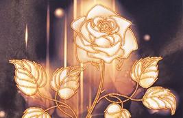 Embroidery Art Golden Rose silk art Wall bead e... - $39.99