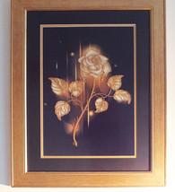 Golden Rose Bead embroidery Silk art Wall hangi... - $89.99