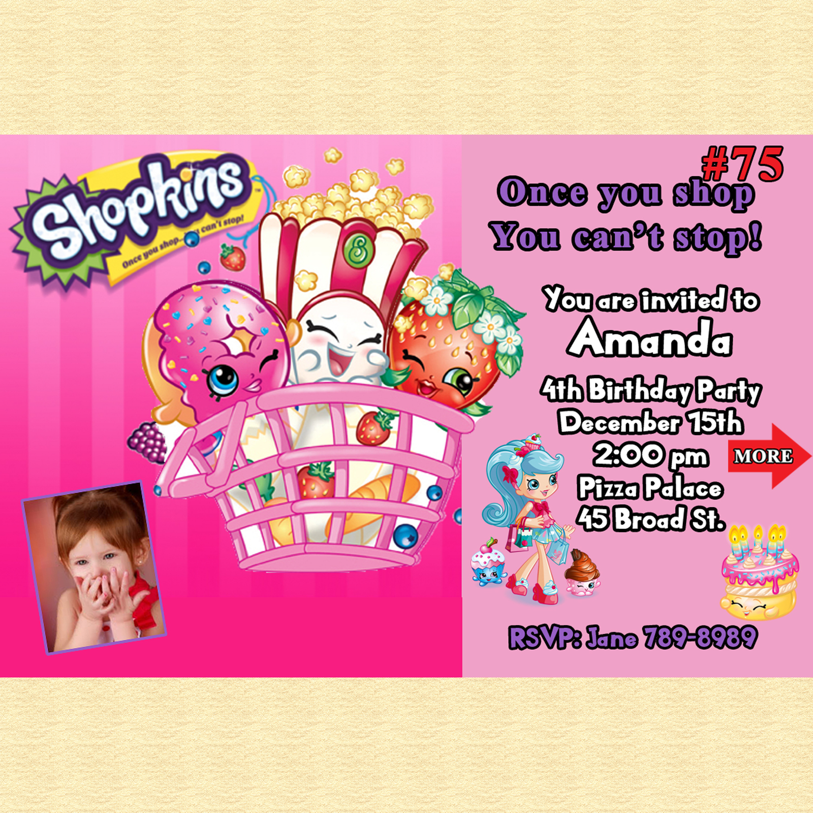Shopkins Birthday Invitations 10 Ea With Envelopes Personalized Custom Made