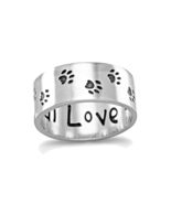 Sterling Silver Oxidized Paw Print Band with Unconditional Love Engraved... - $50.99
