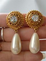 Vintage Etruscan Maxine Denkler Earrings Gold tone Faux Pearl Drop Rhinestone m - $24.74