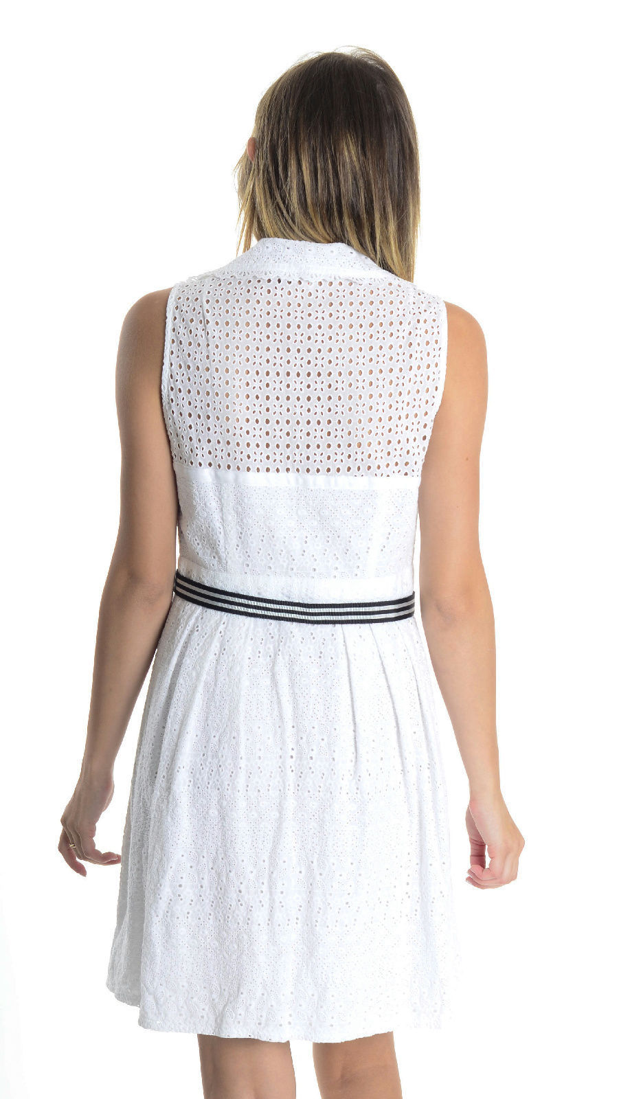 6 Nanette Lepore White Eyelet Lace Sweetheart Neckline Collared Sleeveless Dress
