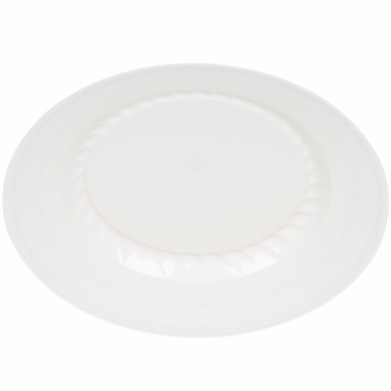 "7"" Desert White Plates Premium Heavy Weight Plastic with silver trim(1 case)"