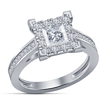 Diamond Square Shape Engagement Ring White Gold Plated Pure 925 Sterling... - $78.99