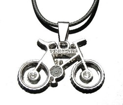 Stainless Steel Silver & Black Bicycle Pendant with Clear CZ Accents Nec... - £3.52 GBP