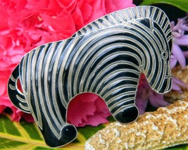 Vintage Zebra Brooch Pin Sterling Silver Black Enamel Stripes Figural - $44.95