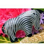 Vintage Zebra Brooch Pin Sterling Silver Black Enamel Stripes Figural - $44.95