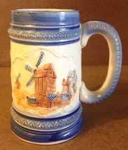 Occupied Japan Mug / Stein Blue White Painted Relief Windmill Art Pottery