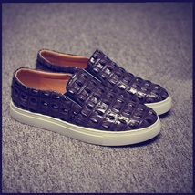 Men's Blue Crocodile Embossed PU Leather Flat Sneaker Slip On Loafers