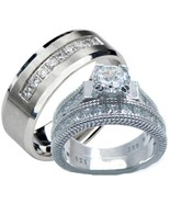 His and Hers Wedding Rings 3 Pc Sterling Silver... - $49.99