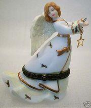 Holly Sprinkled Gown STAR ANGEL PORCELAIN TRINKET BOX - $28.00