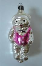 Vintage Blown Silvered Glass Xmas Ornament Teddy Bear Pink Vest Googly Eyes - $21.78