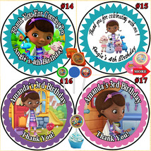Doc McStuffins  Birthday Stickers Label 1 sheet Round Personalized Custo... - $5.75