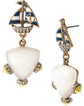 BETSEY JOHNSON 'Ship Shape' Sailboat Faceted Bead Gold-Tone Drop Earring... - $18.53