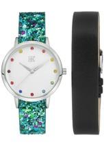 I.N.C. Women's Blue Glitter Black Faux Leather Interchangeable Strap Watch 36mm image 1