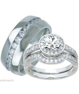 His and Hers Wedding Rings 3 Piece Engagement R... - $69.98
