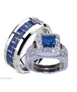 His and Hers Wedding Rings Sapphire Blue & Clea... - $49.99