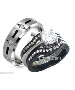 His and Hers Wedding Rings 4 Pc Black Stainless... - $28.99