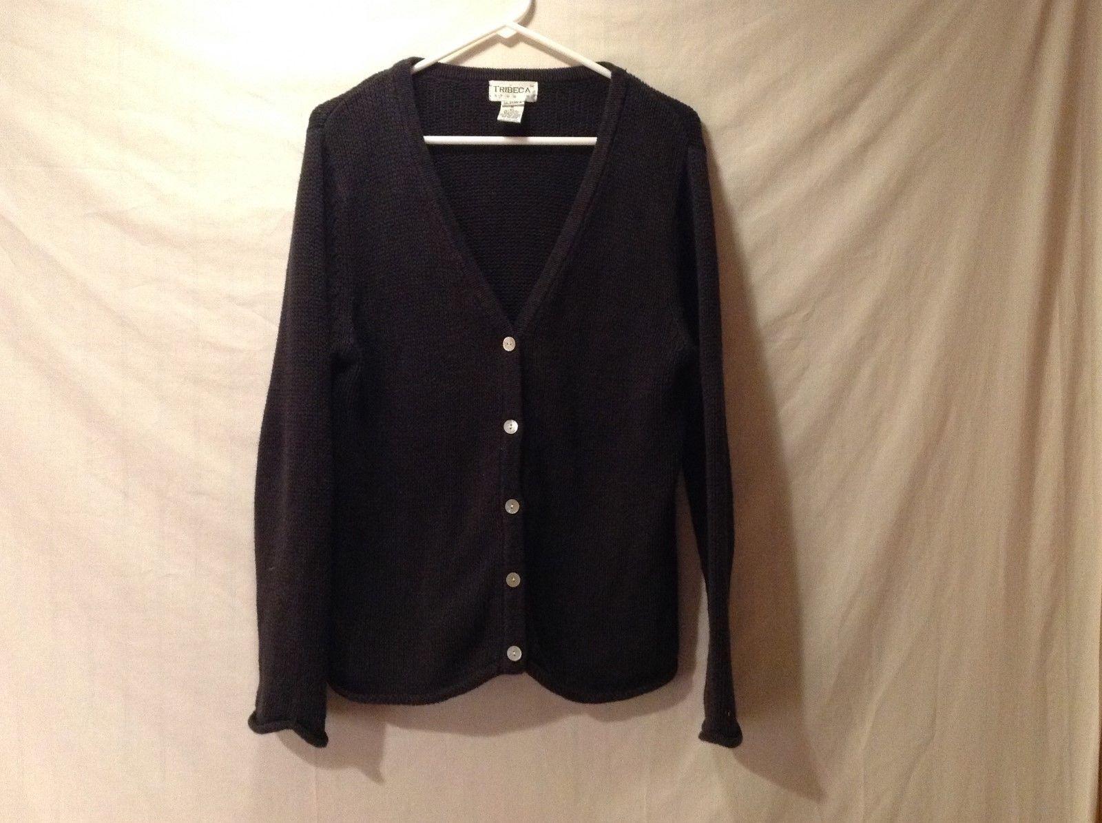 Tribeca Studio Women's Navy Blue V-neck Knit Sweater Cartigan