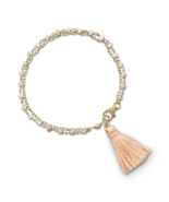 Fashion Trending Double Strand Bracelet with Pink Opal and a Tassel, 14k... - $55.89
