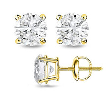 0.75CT Round LabCreated Diamond 14K Yellow Gold Screwback Earrings - $63.35
