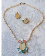 KARLA JORDAN Designer NECKLACE and EARRINGS in Rose Quartz and Mother of... - $77.00