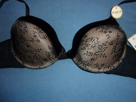 Felina 36C NWT Padded Underwire Light Pushup Gold w/Black Floral Lace Overlay - $16.61