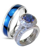 His and Hers Wedding Rings Cz Ring Sterling Sil... - $49.99