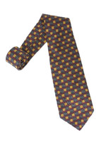 "56"" Robert Talbott Studio Red Gold Brown Square Print 100% Silk Neck Tie - $21.04"
