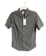 Men's Standard Fit Short Sleeve Button Down Navy Checker Goodfellow & Co - $16.99