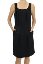 6 NEW Tahari Black Pleated Neck Sheath Dress Patent Trim Sleeveless w/Po... - $116.97
