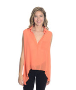 L NEW Ovi Bright Orange Sleeveless Polyester Ch... - $33.65